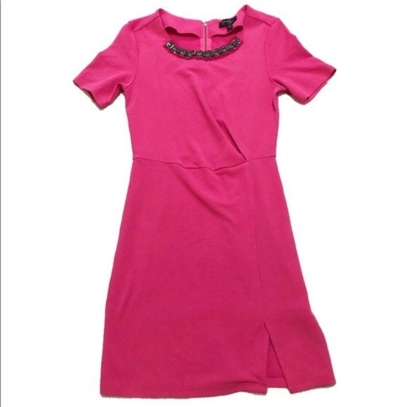 Jessica Simpson Jeweled Neck Hot Pink Mini Dress